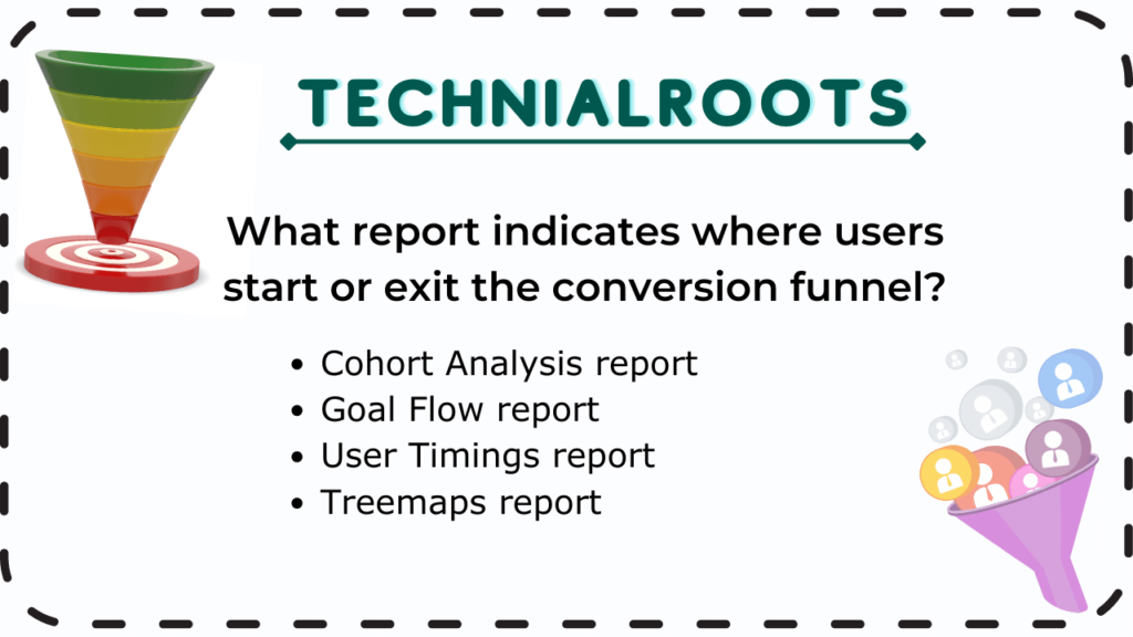 What report indicates where users start or exit the conversion funnel?