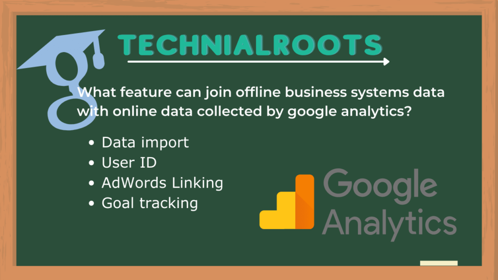 What feature can join offline business systems data with online data collected by google analytics?